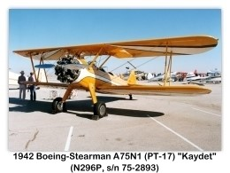 Boeing-Stearman PT-17 Kaydet at the Northrop 50 'N Flying Family Day and Airshow, Palmdale, California, October 1, 1989