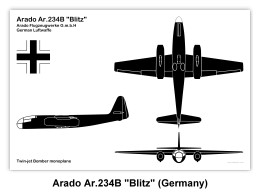 "Sample ""Silhouette"" 3-View Drawing of the Arado Ar.234B Blitz (Click on drawing to enlarge)"