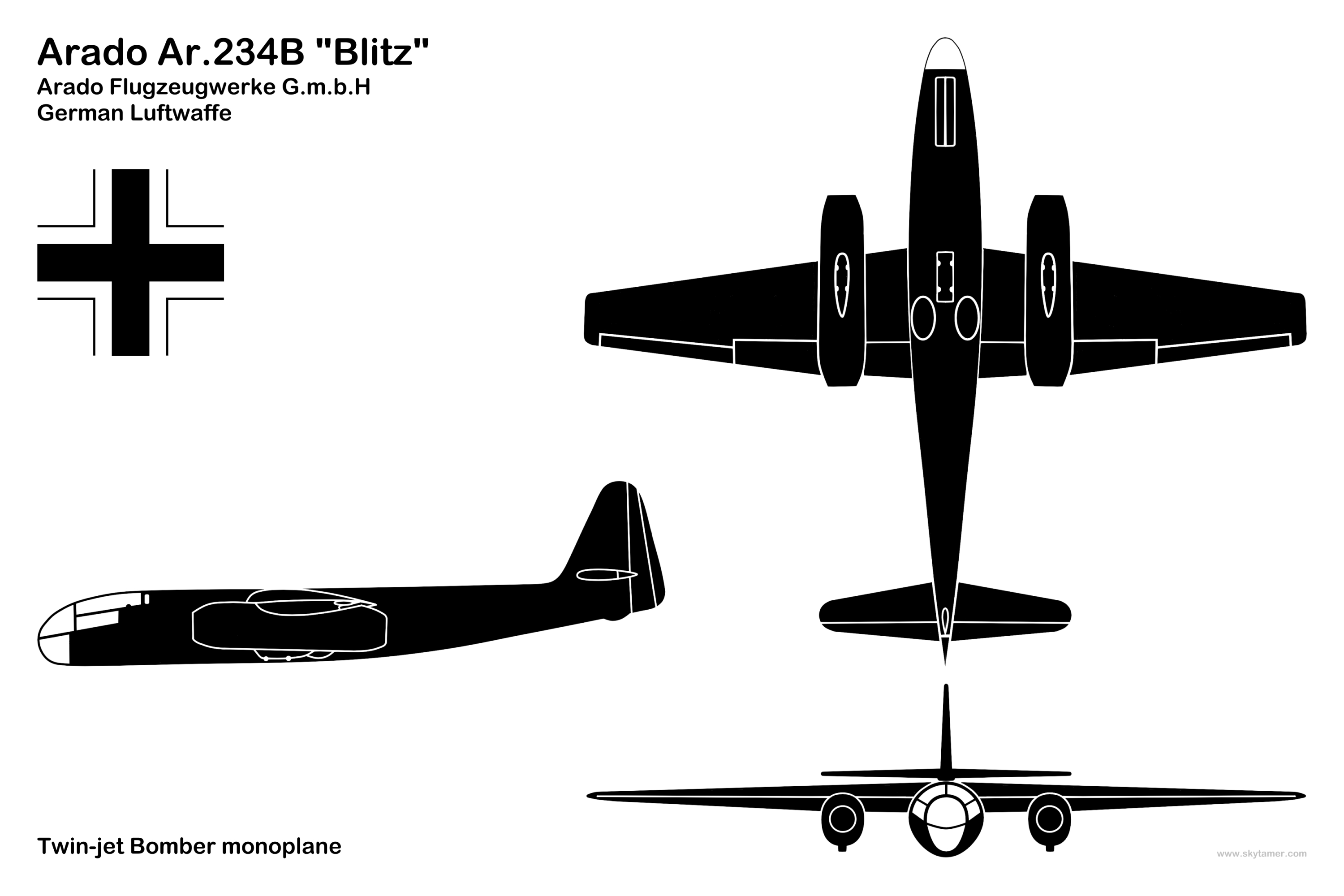 Aircraft 3 View Line And Silhouette Drawings