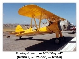 1941 Boeing-Stearman N2S-3 Kaydet (Model A75, N58072, s/n 75-166) at the 1988 MCAS El Toro Airshow