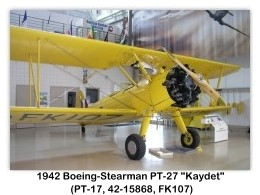 Boeing-Stearman PT-17 Kaydet (A75N1, C-FAUI, c/n 75-2180, painted as PT-27 FK107) at the Canadian Warplane Heritage Museum, Mount Hope, Ontario, Canada