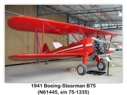 1941 Boeing-Stearman B75 (N61445, s/n 75-1335) at the Planes of Fame Air Museum, Chino, CA (8/4/2004)