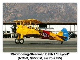1943 Boeing-Stearman N2S-3 Kaydet (B75N1, N5580M, s/n 75-7755) at the 2006 Cable Airshow, Cable Airport, Upland. CA (1/7/2006)