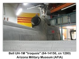 "Bell UH-1M-BF Iroquois ""Huey"" (Army 64-14156, c/n 1280) on display (9/24/2011) at the Arizona Military Museum, Papago Park Military Reservation, Phoenix, Arizona (Photo by AFIA)"