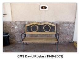 Memorial bench commemorating CMS David Ruelas (1946-2003), Arizona Military Museum, 9/24/2011 (photo by AFIA)
