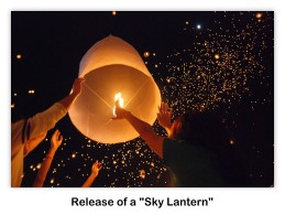 Release of a sky lantern during Yi Peng near Chiang Mai, Thailand (Photo via Wikipedia Commons)
