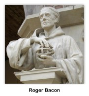 Statue of Roger BAcon, Fransican monk, at Oxford University, England (photo via Wikipedia Commons)