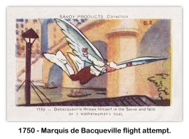 De Bacqueville throws himself in the Seine and falls on a washerwoman's boat. (Image via the Skytamer Images Card Collection)