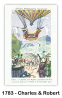 1 December 1783, Professor Jaques Charles, a young physicist, made the first flight in a hydrogen-filled balloon. (Card image via the Skytamer Archive collection)