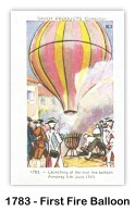 """2 June 1783, Montgolfier's their first public demonstration of the """"fire balloon"""" at Annonay, France. (Card image via the Skytamer Archive collection)"""