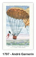 22 October 1797, France, First successful parachute descent from a balloon made by Frenchman André Jacques Garnerin. (Card image via the Skytamer Archive collection)