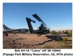 Bell AH-1S Cobra (Army 68-15064) on display (9/24/2011) at the main entrance to the Papago Park Military Reservation, Phoenix, Arizona (Photo by AFIA)