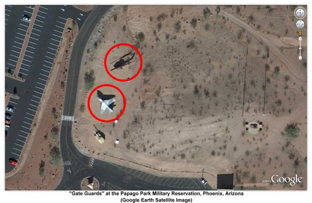 """Gate Guards"" at the Papago Park Military Reservation, Phoenix, Arizona (Google Earth Satellite Image) ²"