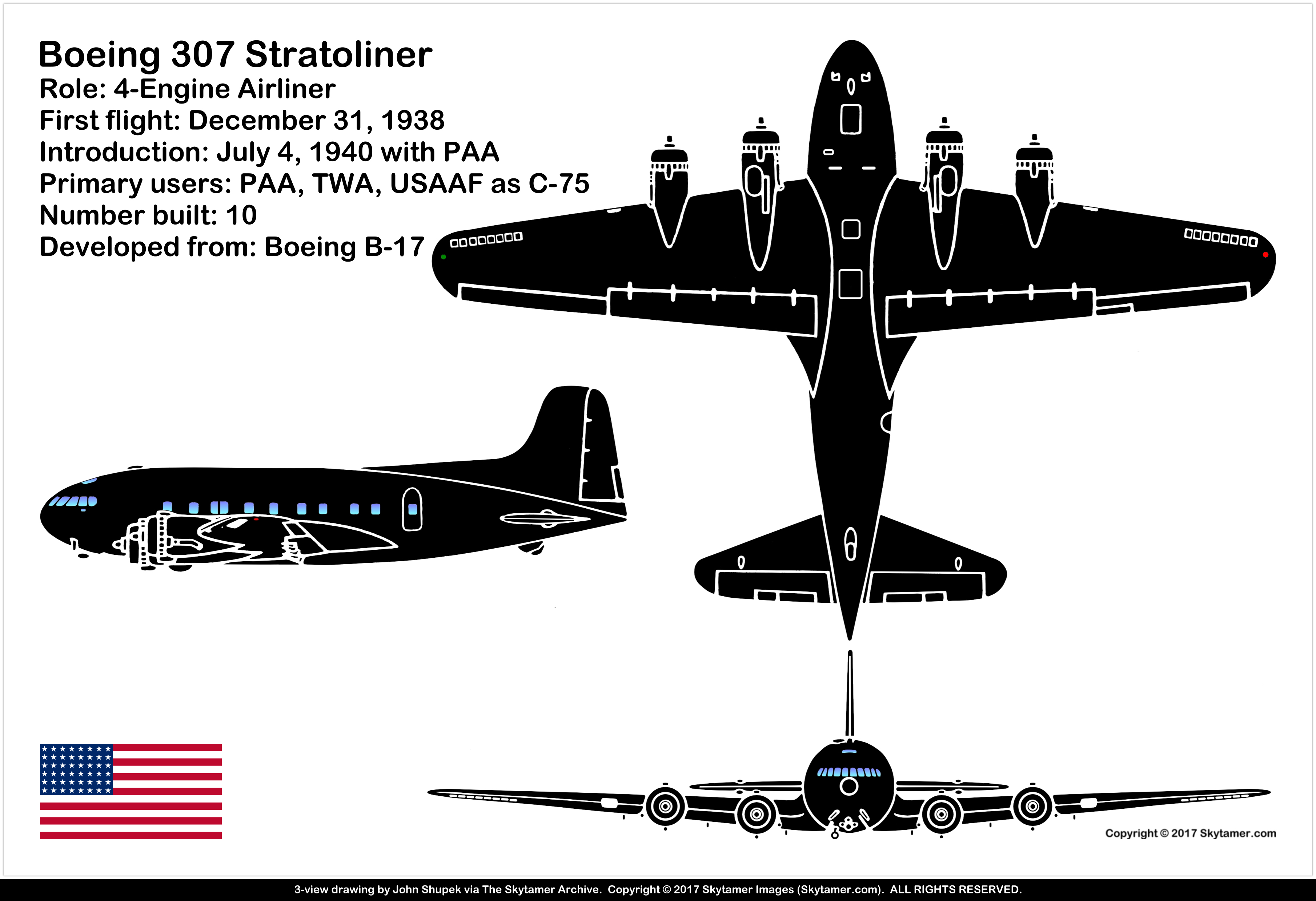 Boeing 307 Stratoliner Four Engine Commercial Monoplane
