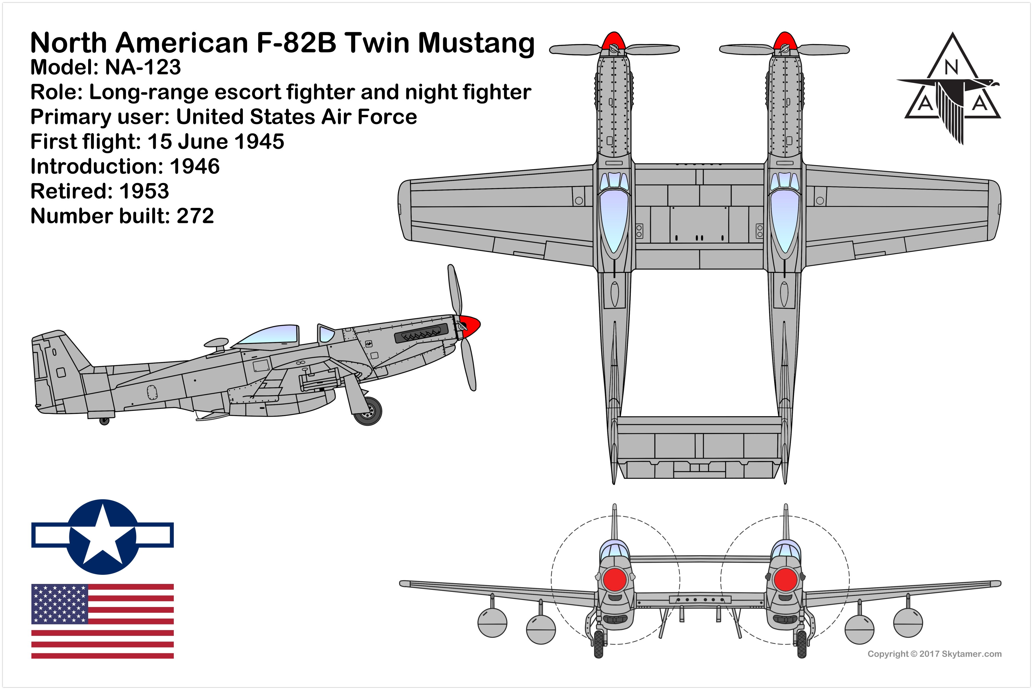 North American F-82B Twin Mustang, Twin-fuselage two-engine two-seat